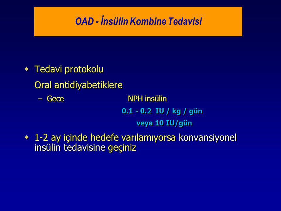 OAD - İnsülin Kombine Tedavisi  Tedavi protokolu Oral antidiyabetiklere –Gece NPH insülin 0.1 - 0.2 IU / kg / gün veya 10 IU/gün  1-2 ay içinde hede