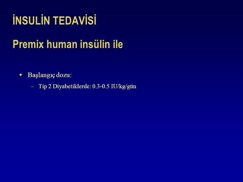 İNSULİN TEDAVİSİ Premix human insülin ile  Başlangıç dozu: –Tip 2 Diyabetiklerde: 0.3-0.5 IU/kg/gün  Başlangıç dozu: –Tip 2 Diyabetiklerde: 0.3-0.5