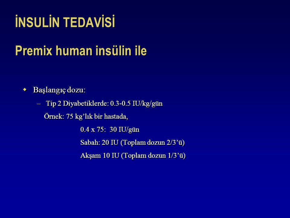 İNSULİN TEDAVİSİ Premix human insülin ile  Başlangıç dozu: –Tip 2 Diyabetiklerde: 0.3-0.5 IU/kg/gün Örnek: 75 kg'lık bir hastada, 0.4 x 75: 30 IU/gün