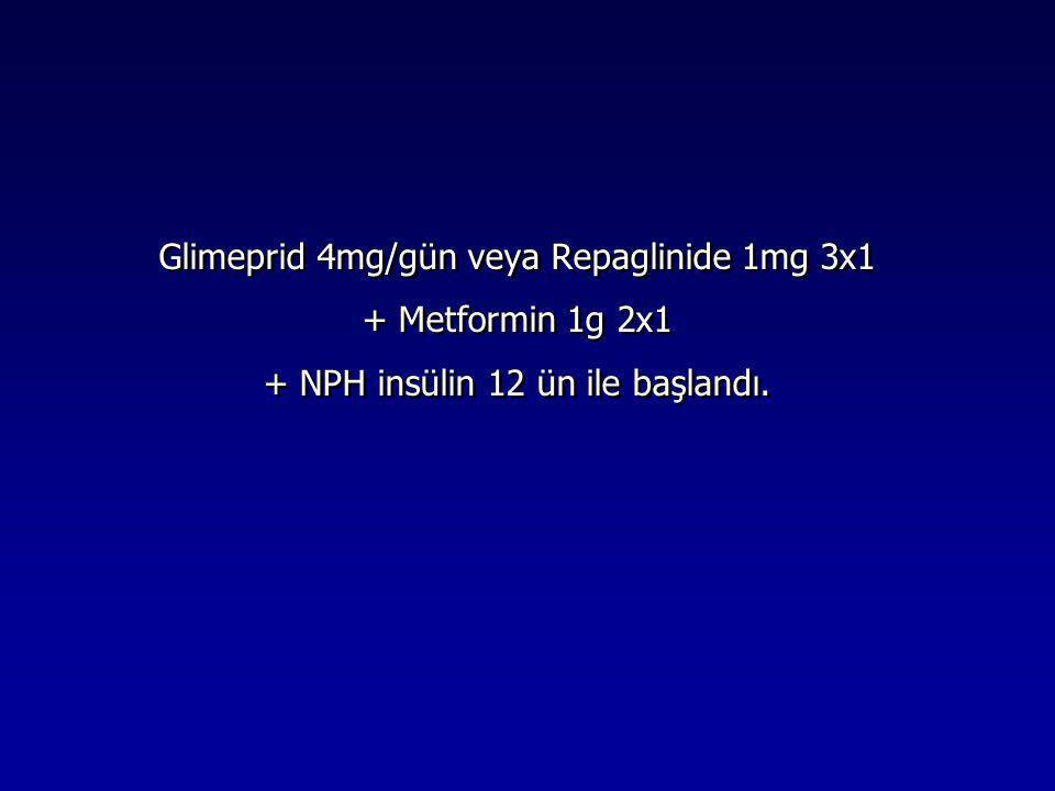 Glimeprid 4mg/gün veya Repaglinide 1mg 3x1 + Metformin 1g 2x1 + NPH insülin 12 ün ile başlandı. Glimeprid 4mg/gün veya Repaglinide 1mg 3x1 + Metformin