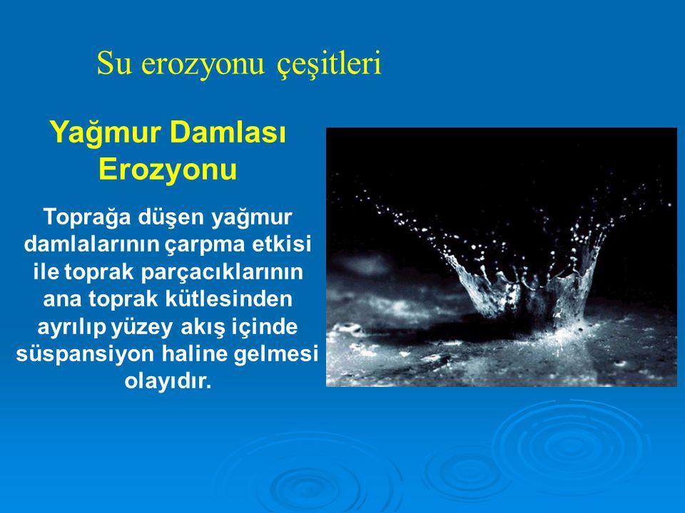 Yağmur Damlası Erozyonu Toprağa düşen yağmur damlalarının çarpma etkisi ile toprak parçacıklarının ana toprak kütlesinden ayrılıp yüzey akış içinde süspansiyon haline gelmesi olayıdır.