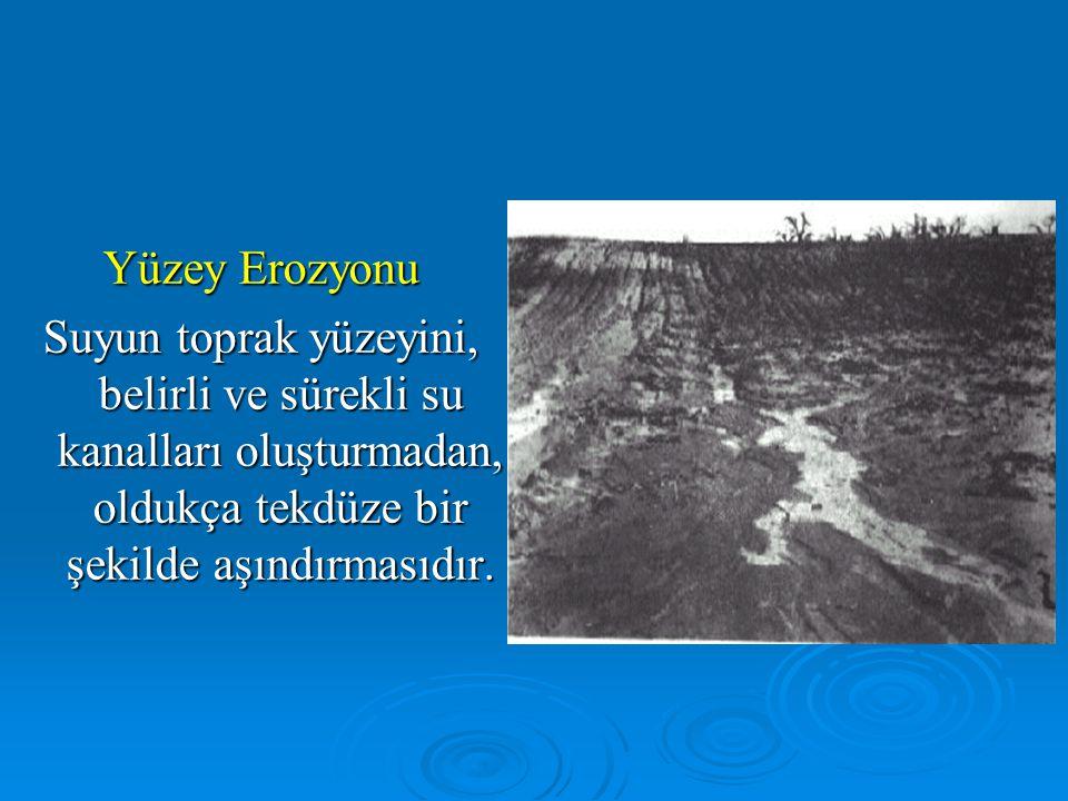 Yüzey Erozyonu Suyun toprak yüzeyini, belirli ve sürekli su kanalları oluşturmadan, oldukça tekdüze bir şekilde aşındırmasıdır.