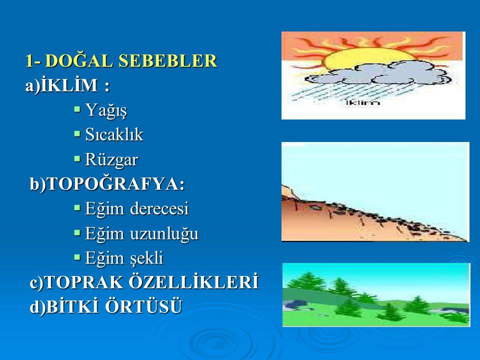 1.KÜLTÜREL ÖNLEMLER a)Araziyi yeteneklerine göre kullanmak Arazi Kullanım sınıfı Yabani hayat Ormancılık OtlatmaKültivasyon SınırlıOrtaUygunSınırlıOrtaUygun Çok Uygun I II III IV V VI VII VIII