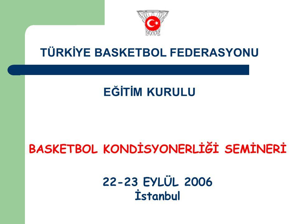 BASKETBOL KONDİSYONERLİĞİ SEMİNERİ 22-23 EYLÜL 2006 İstanbul TÜRKİYE BASKETBOL FEDERASYONU EĞİTİM KURULU