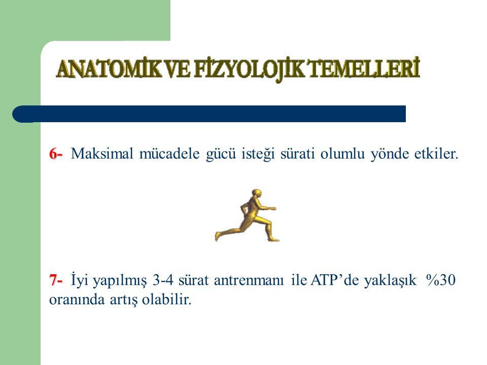 7- 7- İyi yapılmış 3-4 sürat antrenmanı ile ATP'de yaklaşık %30 oranında artış olabilir. 6- 6- Maksimal mücadele gücü isteği sürati olumlu yönde etkil
