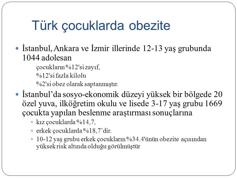 Türk çocuklarda obezite İstanbul, Ankara ve İzmir illerinde 12-13 yaş grubunda 1044 adolesan çocukların %12'si zayıf, %12'si fazla kilolu %2'si obez o