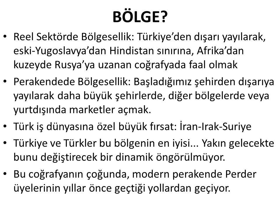 BÖLGE? Reel Sektörde Bölgesellik: Türkiye'den dışarı yayılarak, eski-Yugoslavya'dan Hindistan sınırına, Afrika'dan kuzeyde Rusya'ya uzanan coğrafyada