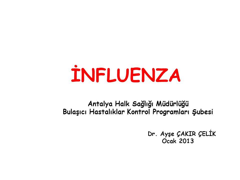 İNFLUENZA Antalya Halk Sağlığı Müdürlüğü Bulaşıcı Hastalıklar Kontrol Programları Şubesi Dr. Ayşe ÇAKIR ÇELİK Ocak 2013
