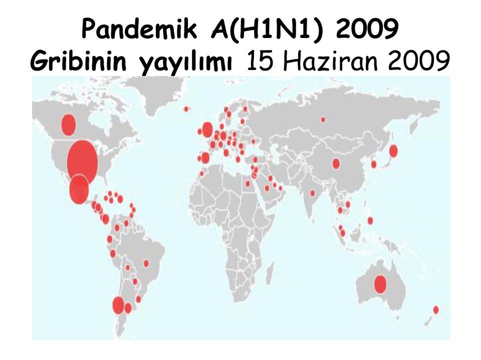 Pandemik A(H1N1) 2009 Gribinin yayılımı 15 Haziran 2009