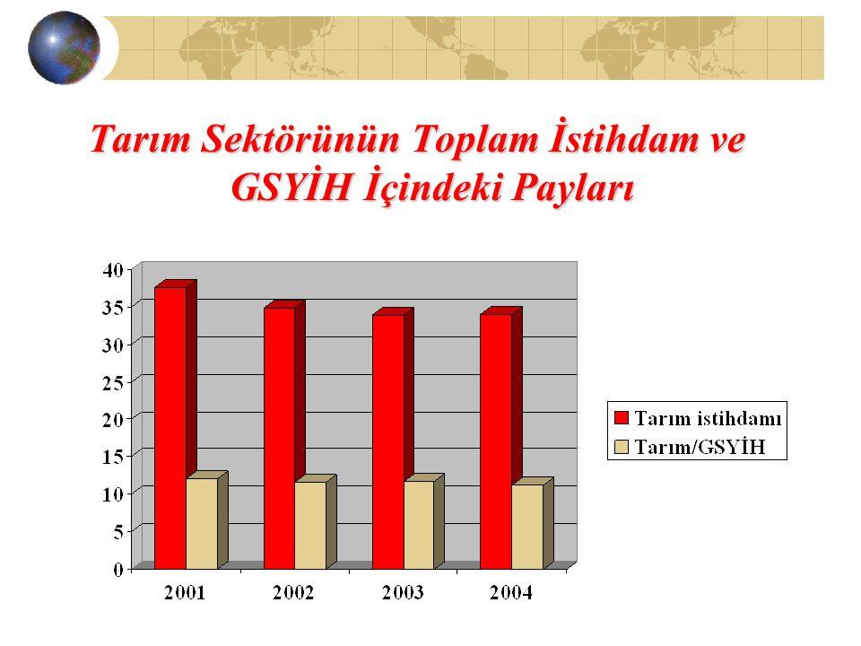 Tarım Sektörünün Toplam İstihdam ve GSYİH İçindeki Payları