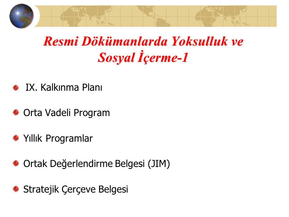 Resmi Dökümanlarda Yoksulluk ve Sosyal İçerme-1 IX. Kalkınma Planı Orta Vadeli Program Yıllık Programlar Ortak Değerlendirme Belgesi (JIM) Stratejik Ç