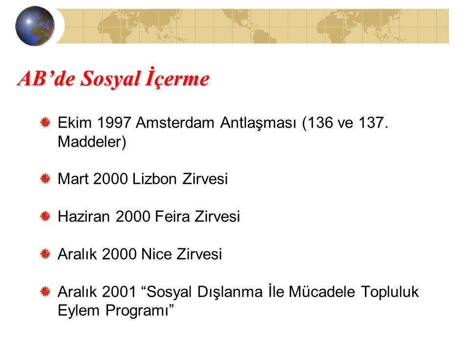 AB'de Sosyal İçerme Ekim 1997 Amsterdam Antlaşması (136 ve 137. Maddeler) Mart 2000 Lizbon Zirvesi Haziran 2000 Feira Zirvesi Aralık 2000 Nice Zirvesi