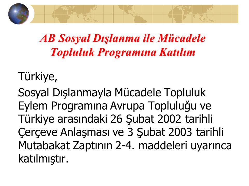 AB Sosyal Dışlanma ile Mücadele Topluluk Programına Katılım Türkiye, Sosyal Dışlanmayla Mücadele Topluluk Eylem Programına Avrupa Topluluğu ve Türkiye