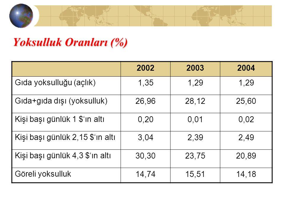Yoksulluk Oranları (%) 200220032004 Gıda yoksulluğu (açlık)1,351,29 Gıda+gıda dışı (yoksulluk)26,9628,1225,60 Kişi başı günlük 1 $'ın altı0,200,010,02