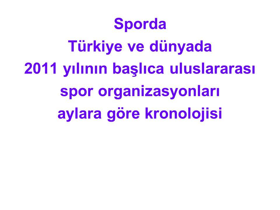 Sporda Türkiye ve dünyada 2011 yılının başlıca uluslararası spor organizasyonları aylara göre kronolojisi