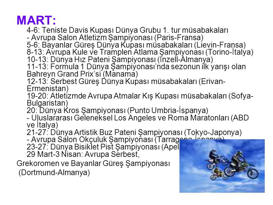 MART: 4-6: Teniste Davis Kupası Dünya Grubu 1.