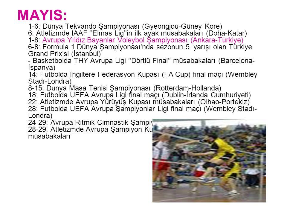 MAYIS: 1-6: Dünya Tekvando Şampiyonası (Gyeongjou-Güney Kore) 6: Atletizmde IAAF ''Elmas Lig''in ilk ayak müsabakaları (Doha-Katar) 1-8: Avrupa Yıldız Bayanlar Voleybol Şampiyonası (Ankara-Türkiye) 6-8: Formula 1 Dünya Şampiyonası'nda sezonun 5.