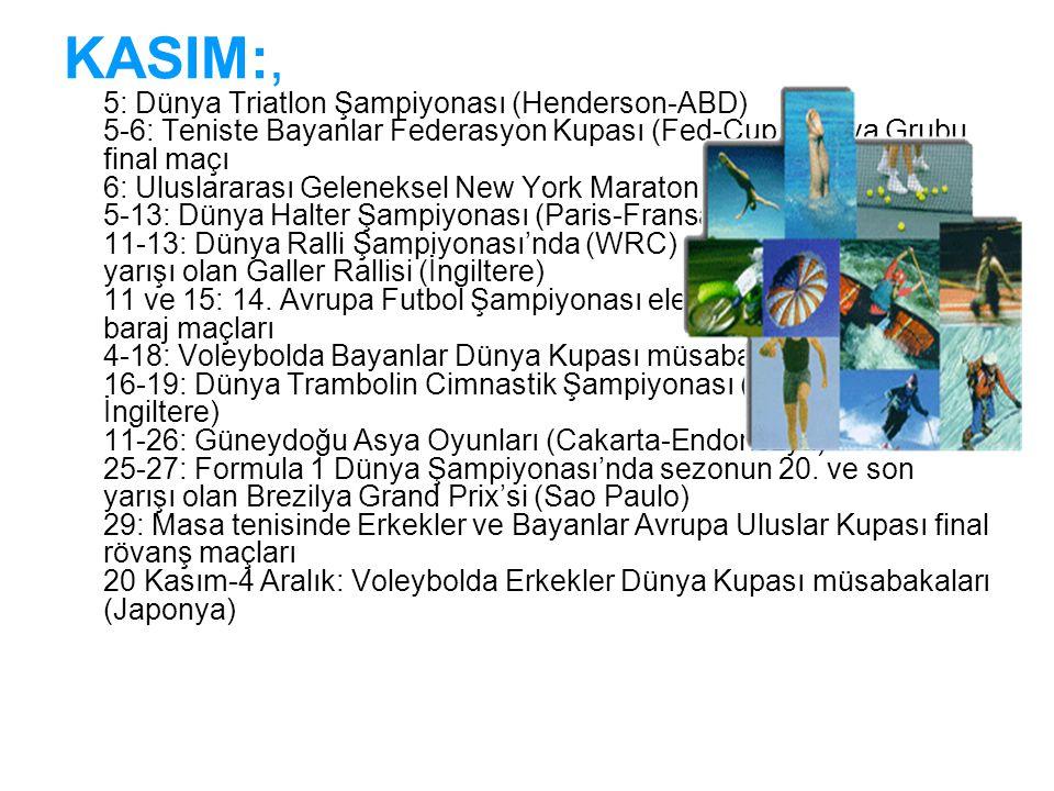 KASIM:, 5: Dünya Triatlon Şampiyonası (Henderson-ABD) 5-6: Teniste Bayanlar Federasyon Kupası (Fed-Cup) Dünya Grubu final maçı 6: Uluslararası Geleneksel New York Maratonu (ABD) 5-13: Dünya Halter Şampiyonası (Paris-Fransa) 11-13: Dünya Ralli Şampiyonası'nda (WRC) sezonun 13.