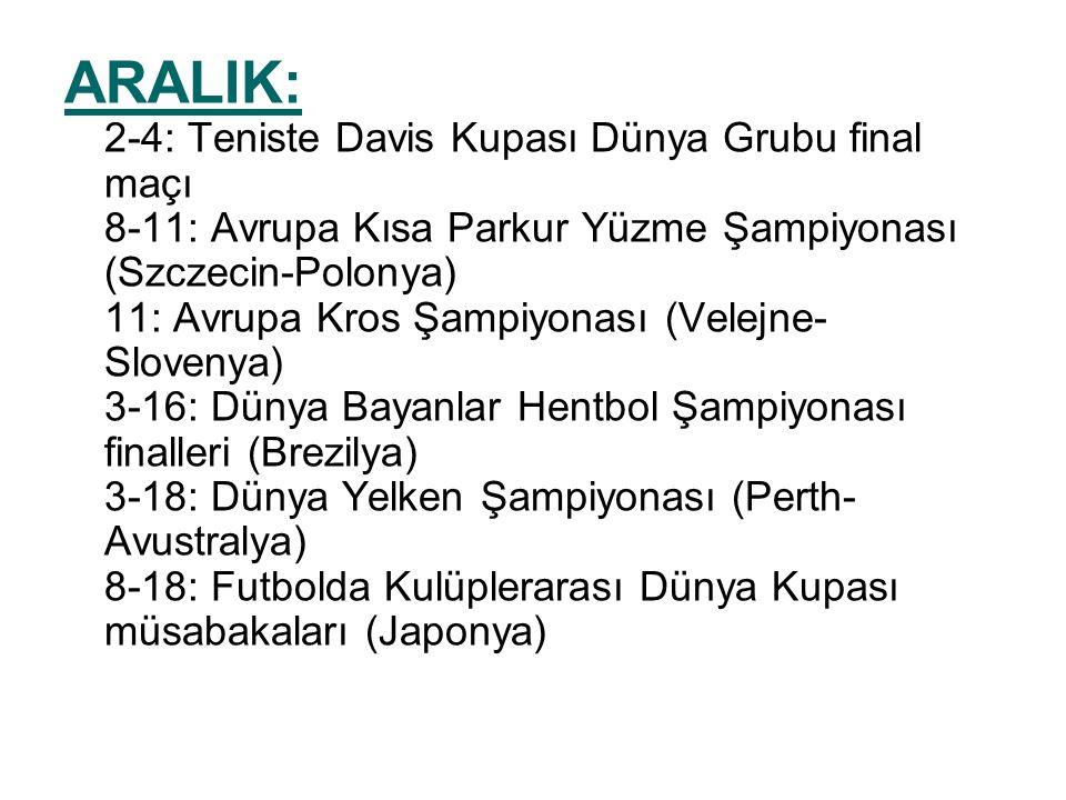 ARALIK: 2-4: Teniste Davis Kupası Dünya Grubu final maçı 8-11: Avrupa Kısa Parkur Yüzme Şampiyonası (Szczecin-Polonya) 11: Avrupa Kros Şampiyonası (Velejne- Slovenya) 3-16: Dünya Bayanlar Hentbol Şampiyonası finalleri (Brezilya) 3-18: Dünya Yelken Şampiyonası (Perth- Avustralya) 8-18: Futbolda Kulüplerarası Dünya Kupası müsabakaları (Japonya)