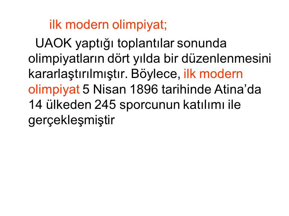 ilk modern olimpiyat; UAOK yaptığı toplantılar sonunda olimpiyatların dört yılda bir düzenlenmesini kararlaştırılmıştır.