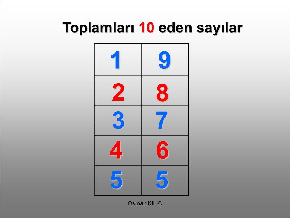 Toplamları 10 eden sayılar 19 2 8 37 46 55