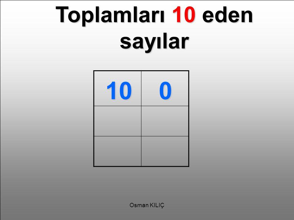 Toplamları 10 eden sayılar 100