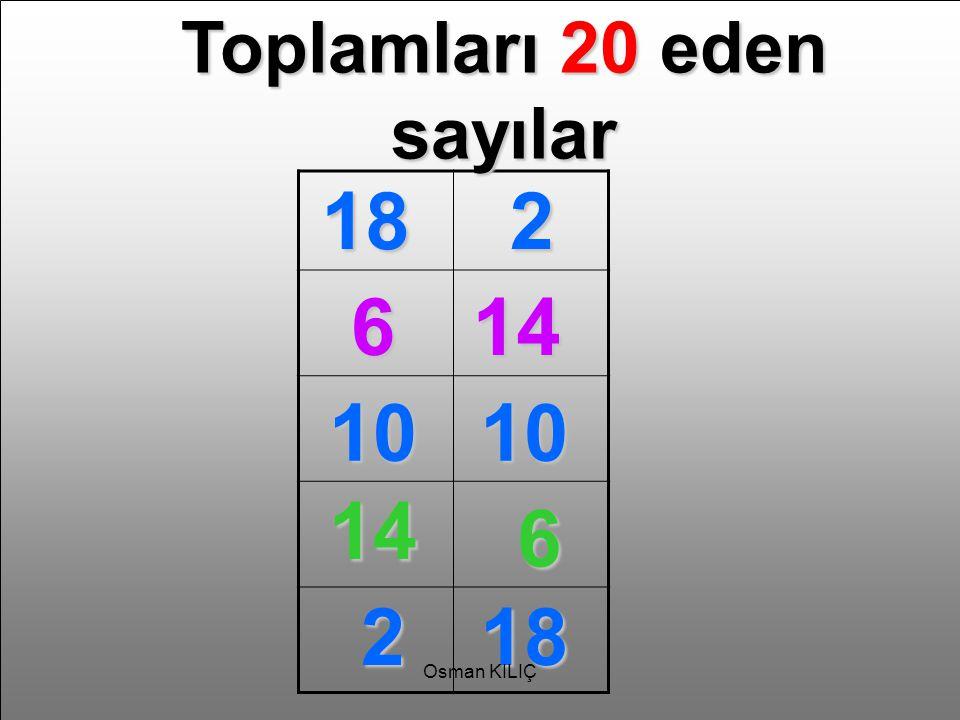 Toplamları 20 eden sayılar 182 614 1010 14 6 218