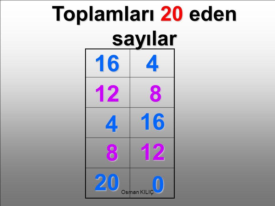 Toplamları 20 eden sayılar 164 128 4 16 8 12 20 0