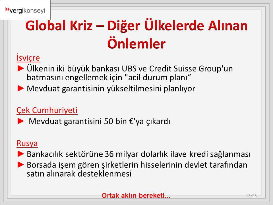Ortak aklın bereketi... İsviçre ► Ülkenin iki büyük bankası UBS ve Credit Suisse Group'un batmasını engellemek için