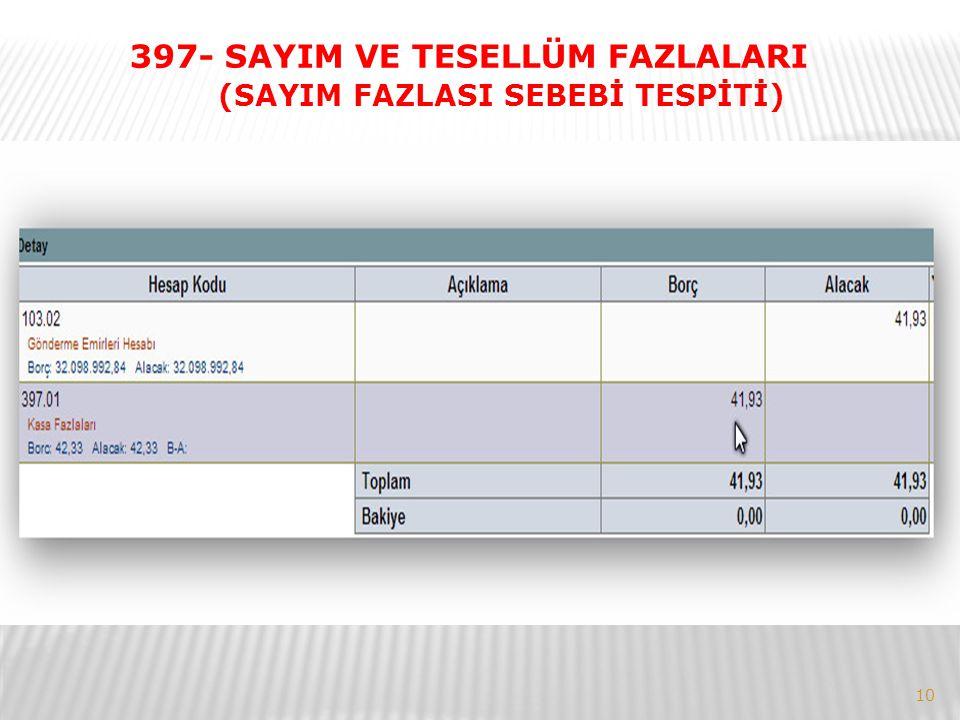 10 397- SAYIM VE TESELLÜM FAZLALARI (SAYIM FAZLASI SEBEBİ TESPİTİ)