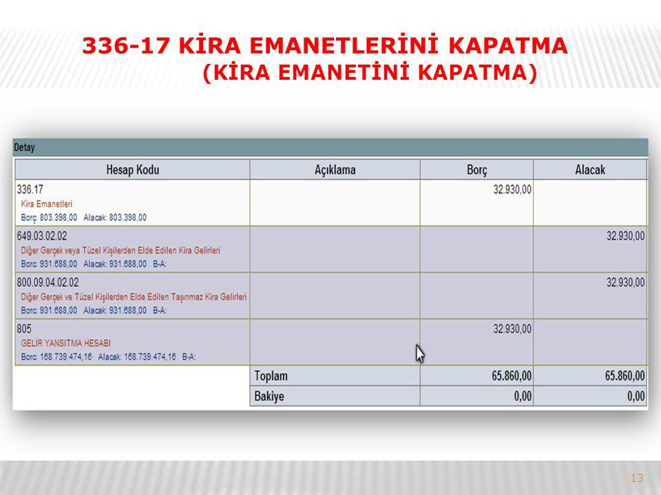 13 336-17 KİRA EMANETLERİNİ KAPATMA (KİRA EMANETİNİ KAPATMA)