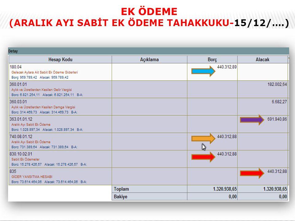 21 EK ÖDEME (ARALIK AYI SABİT EK ÖDEME TAHAKKUKU-15/12/….)