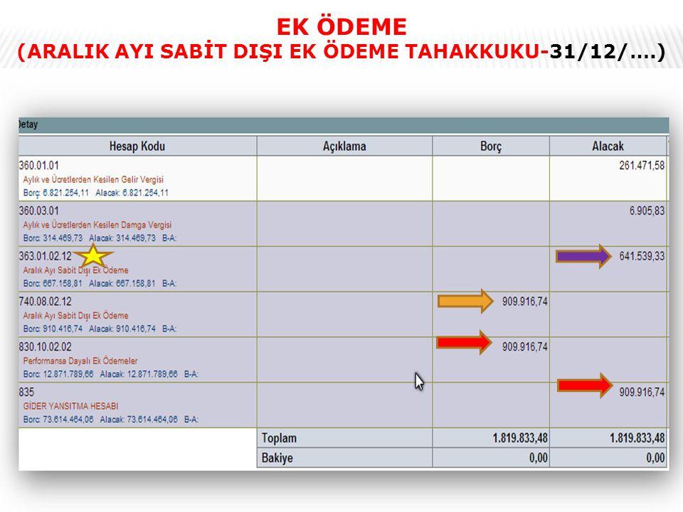 24 EK ÖDEME (ARALIK AYI SABİT DIŞI EK ÖDEME TAHAKKUKU-31/12/….)