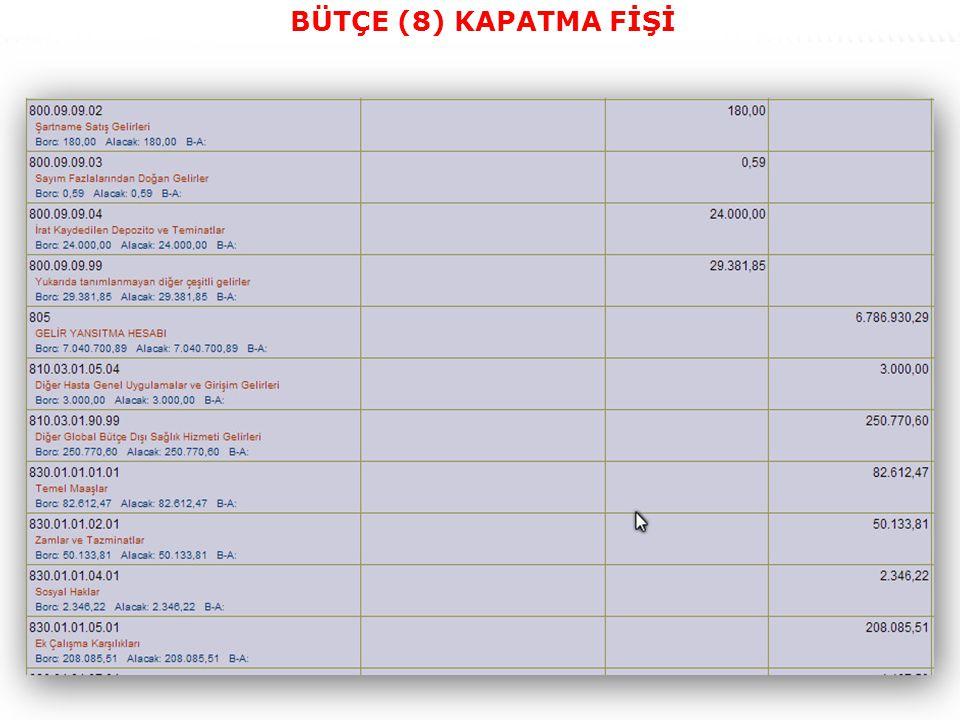 39 BÜTÇE (8) KAPATMA FİŞİ