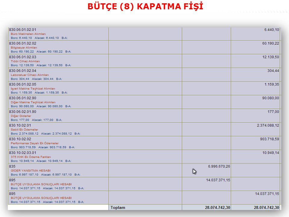 40 BÜTÇE (8) KAPATMA FİŞİ