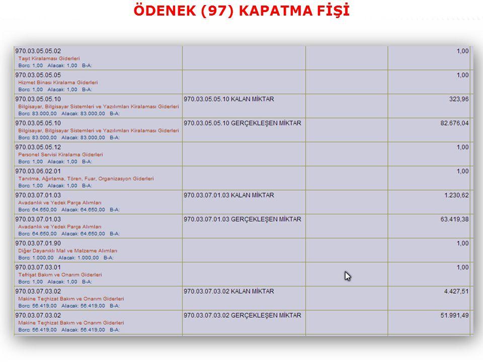 45 ÖDENEK (97) KAPATMA FİŞİ