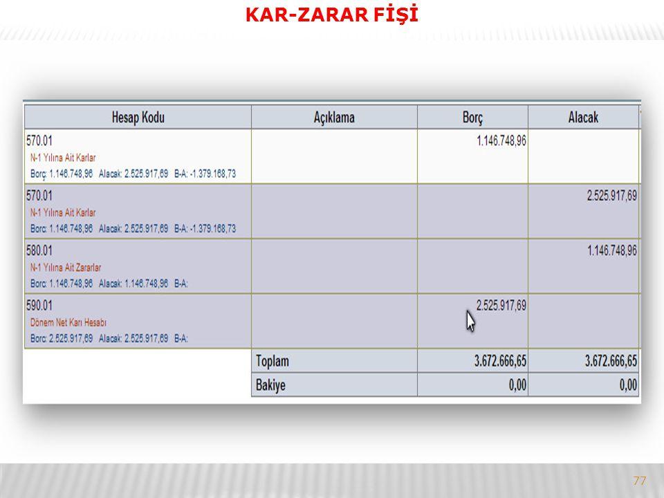 77 KAR-ZARAR FİŞİ