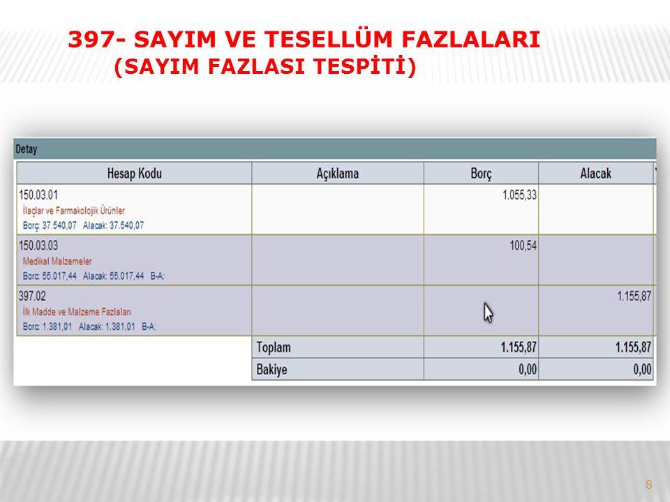 8 397- SAYIM VE TESELLÜM FAZLALARI (SAYIM FAZLASI TESPİTİ)
