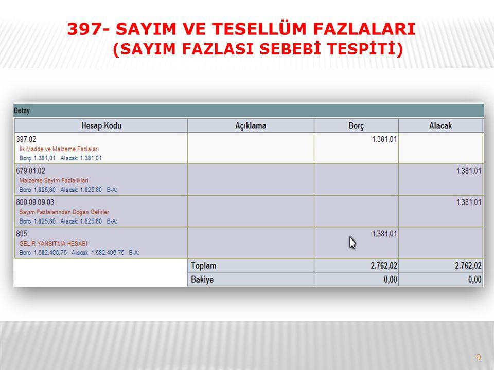 9 397- SAYIM VE TESELLÜM FAZLALARI (SAYIM FAZLASI SEBEBİ TESPİTİ)