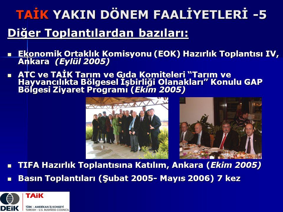 TAİK YAKIN DÖNEM FAALİYETLERİ -5 Diğer Toplantılardan bazıları: Ekonomik Ortaklık Komisyonu (EOK) Hazırlık Toplantısı IV, Ankara (Eylül 2005) Ekonomik