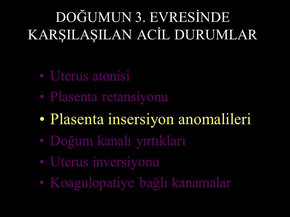 DOĞUMUN 3. EVRESİNDE KARŞILAŞILAN ACİL DURUMLAR Uterus atonisi Plasenta retansiyonu Plasenta insersiyon anomalileri Doğum kanalı yırtıkları Uterus inv