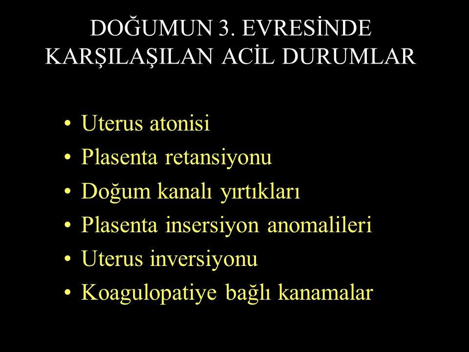 DOĞUMUN 3. EVRESİNDE KARŞILAŞILAN ACİL DURUMLAR Uterus atonisi Plasenta retansiyonu Doğum kanalı yırtıkları Plasenta insersiyon anomalileri Uterus inv