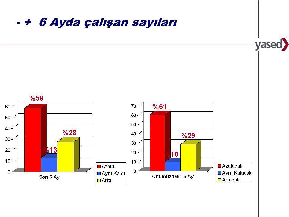 4 www.yased.org.tr - + 6 Ayda çalışan sayıları %28 %13 %59 %29 %10 %61
