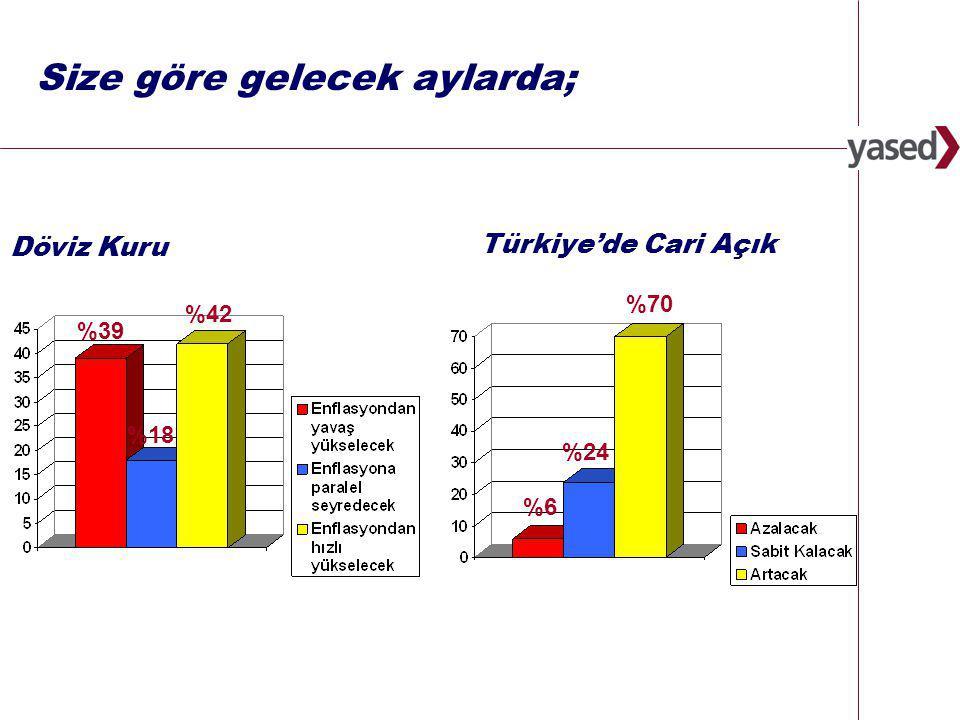 8 www.yased.org.tr Daha Kötü Aynı Daha İyi Ekonomik İstikrar % 36 % 52 % 12 Yasal Çerçeve ve Yasaların Uygulanması % 19% 74 % 7 Fikri Mülkiyet Hakları % 7% 85 % 7 Finansal Ortam % 51% 41 % 7 Rekabeti Koruma % 21% 71 % 9 Vergi ve Teşvikler % 13 % 74 % 13 Kayıt Dışı Ekonomi % 31 % 65 % 4 Bürokratik Engeller % 19 % 72 % 9 Geçtiğimiz 6 ay içinde