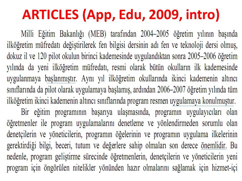ARTICLES (App, Edu, 2009, intro)