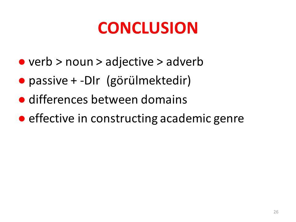 CONCLUSION ● verb > noun > adjective > adverb ● passive + -DIr (görülmektedir) ● differences between domains ● effective in constructing academic genre 26
