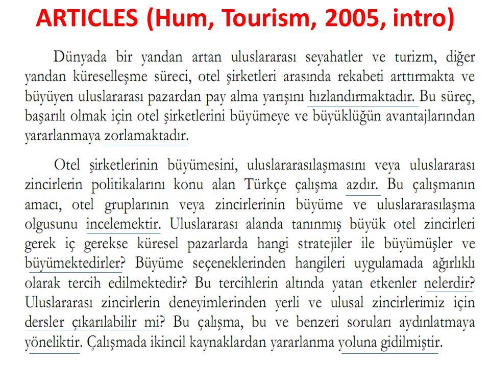 ARTICLES (Hum, Tourism, 2005, intro)