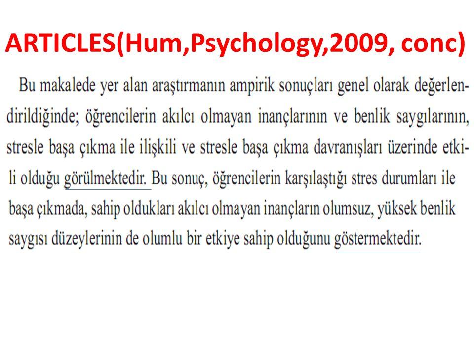 ARTICLES(Hum,Psychology,2009, conc)
