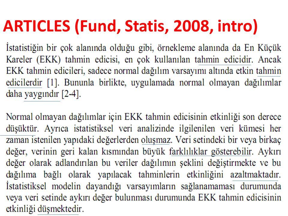 ARTICLES (Fund, Statis, 2008, intro)