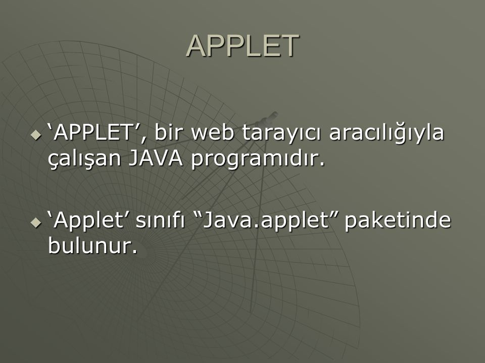 Font Kontrolü import java.awt.*; import java.applet.*; public class applet5 extends Applet{ public void paint(Graphics g){ g.setColor(Color.BLUE); Font f=new Font( Times New Roman ,Font.ITALIC,24); g.setFont(f);g.drawString( Edutime ,10,20);}}